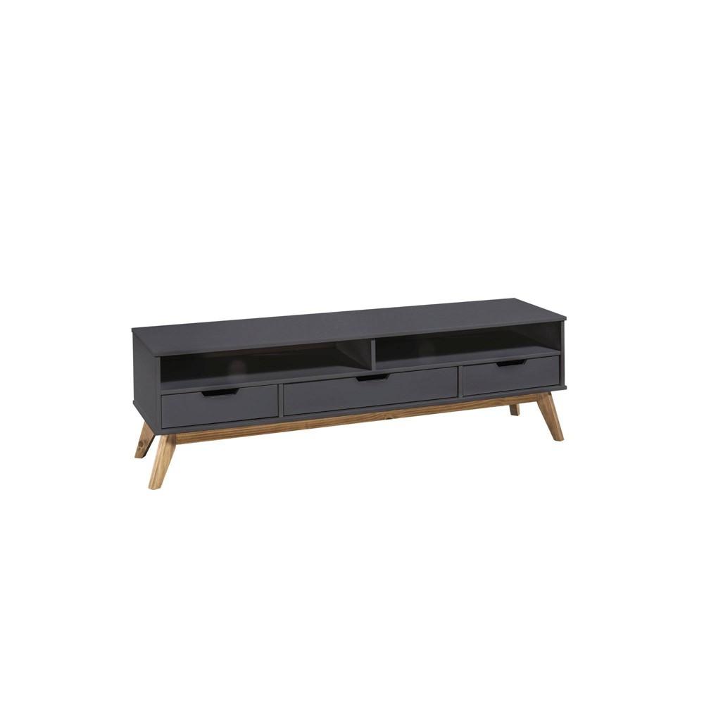 55.11 Mid Century Modern 3 Drawer Vandalia TV Stand 1.0 Dark Gray - Manhattan Comfort