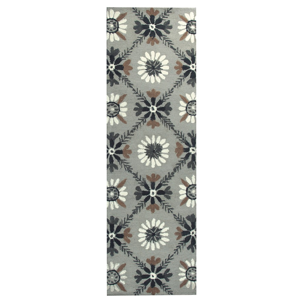 "Image of ""2'6""""X8' Trellis Floral Runner Ivory - Rizzy Home, Size: 2'6""""X8' RUNNER"""