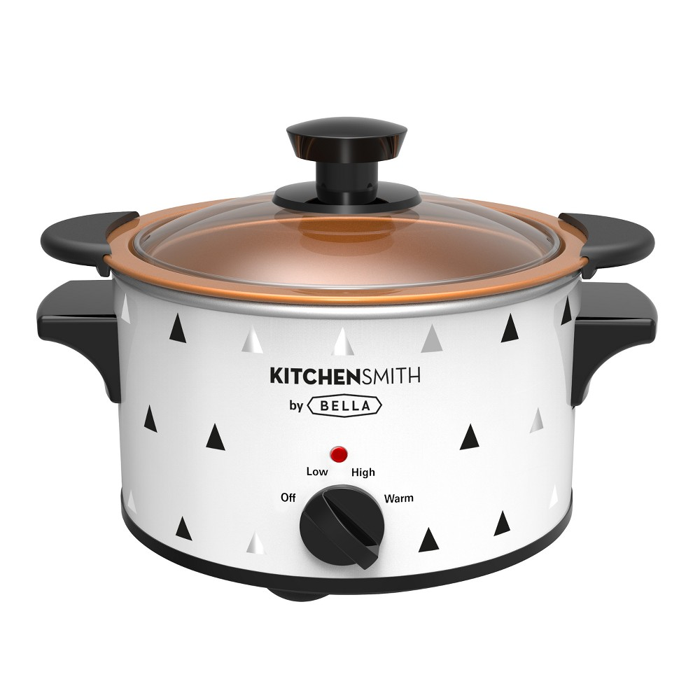 KitchenSmith by Bella Two Pack 1.5 Quart Slow Cooker Copper Ceramic Steel Pots, Black