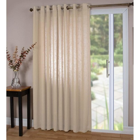 Double Width Sheer Linen Single Window Curtain Panel With Grommets, Natural - Plow & Hearth - image 1 of 1