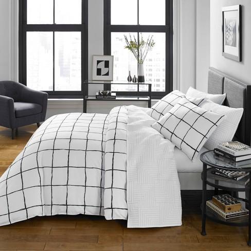 White Zander Duvet Cover Set - CITY SCENE - image 1 of 3