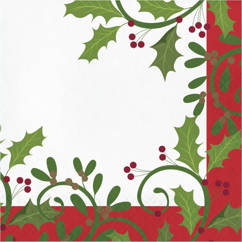 Image of 48ct Holiday Holly Napkins, Green Red White