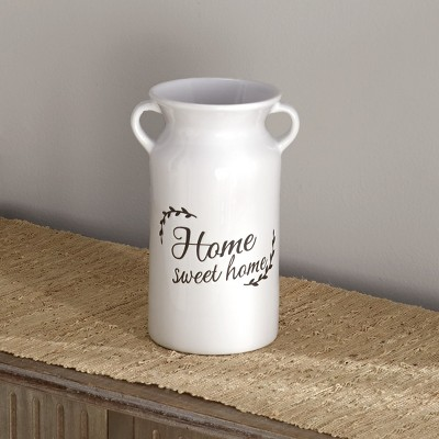 Lakeside Ceramic Milk Jar Style Vase - Indoor Farmhouse Garden Accent