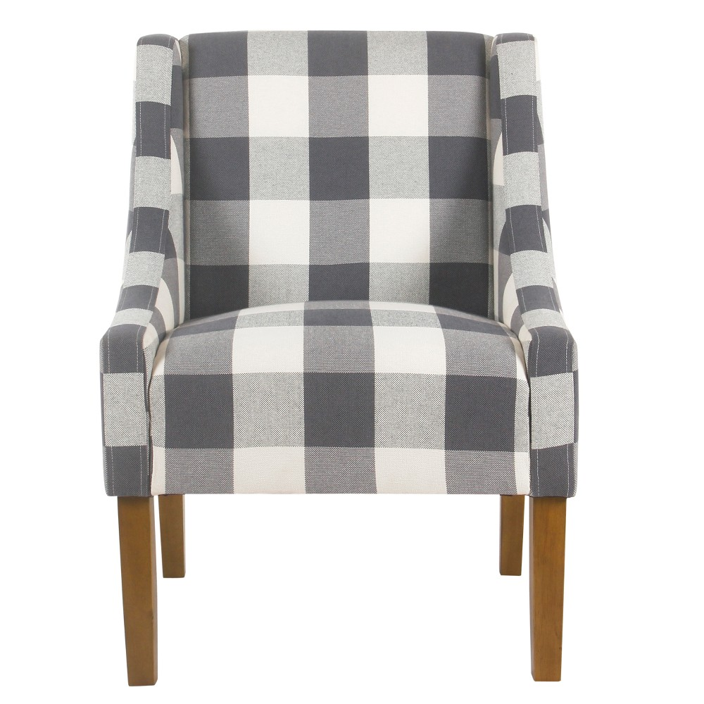 Modern Swoop Accent Chair Blue Plaid - HomePop was $249.99 now $187.49 (25.0% off)