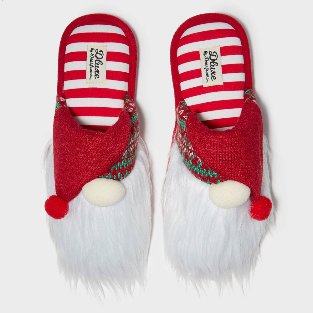 Image of Men's dluxe by dearfoams Gnome Ugly Holiday Slippers - Red M(9-10), Adult Unisex, Size: Medium(9-10), White Red