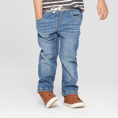 Toddler Boys' Pull-On Straight Fit Jeans - Cat & Jack™ Blue 12M