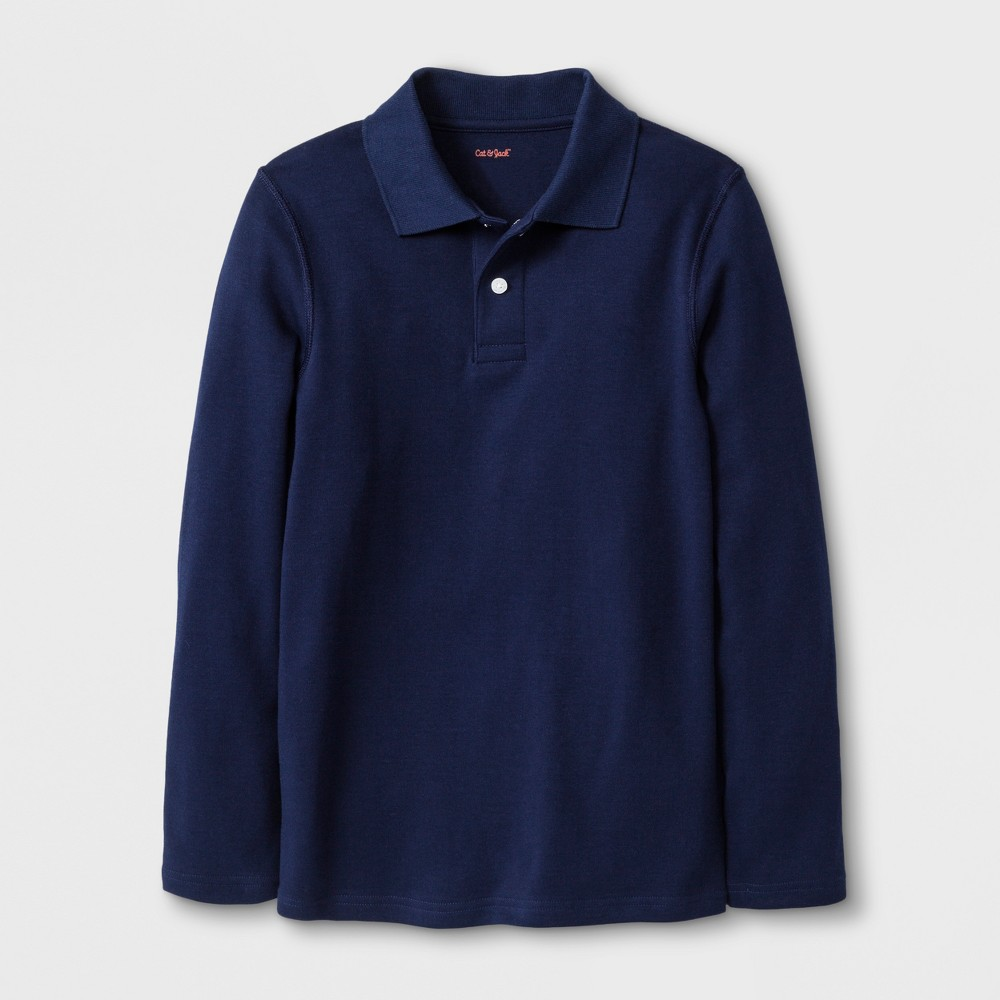 Image of Boys' Adaptive Long Sleeve Polo Shirt - Cat & Jack Navy L, Boy's, Size: Large, Blue