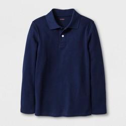 Boys' Adaptive Long Sleeve Polo Shirt - Cat & Jack™ Navy