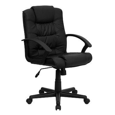 Swivel Task Chair Black Leather - Flash Furniture