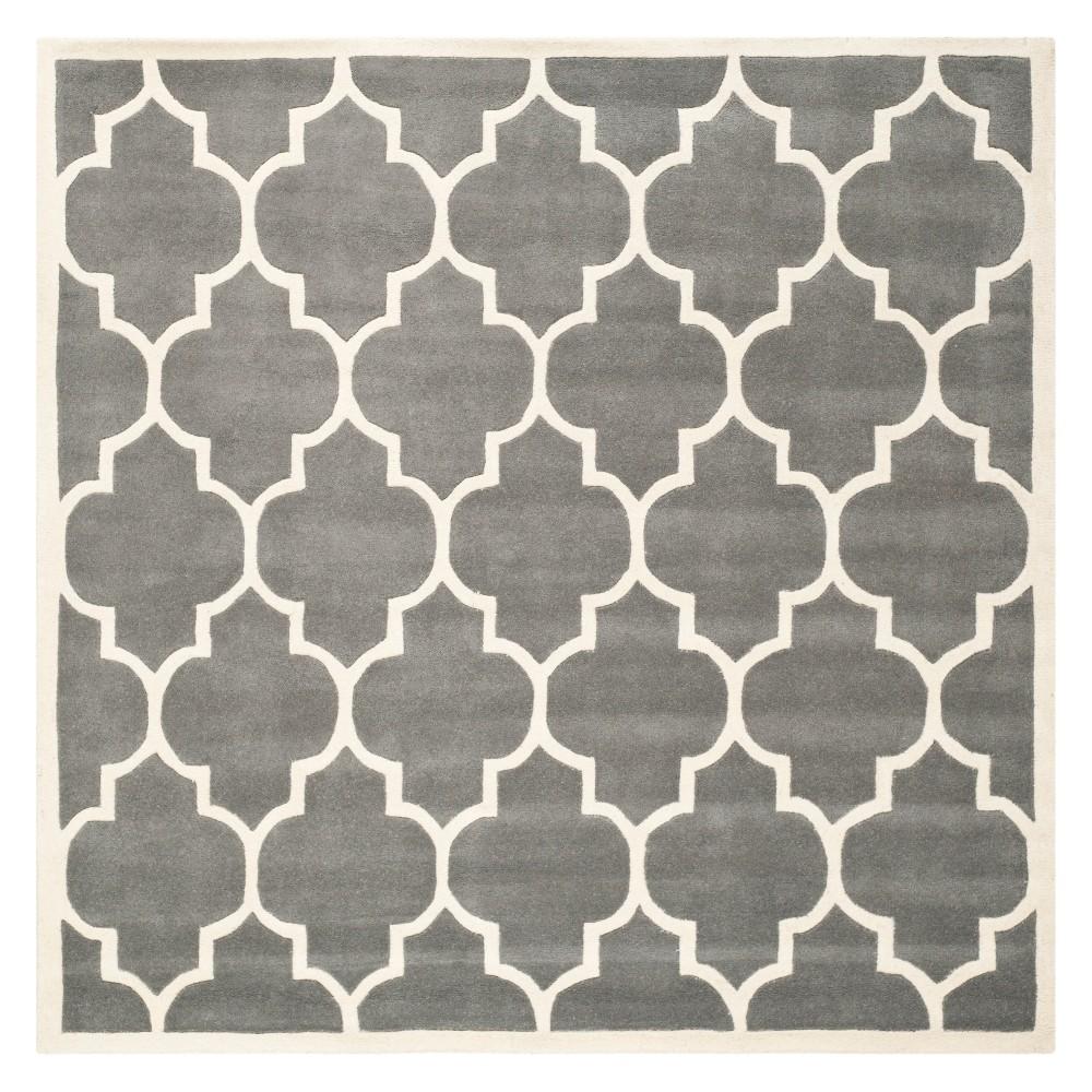 5 X5 Quatrefoil Design Tufted Square Area Rug Dark Gray Ivory Safavieh