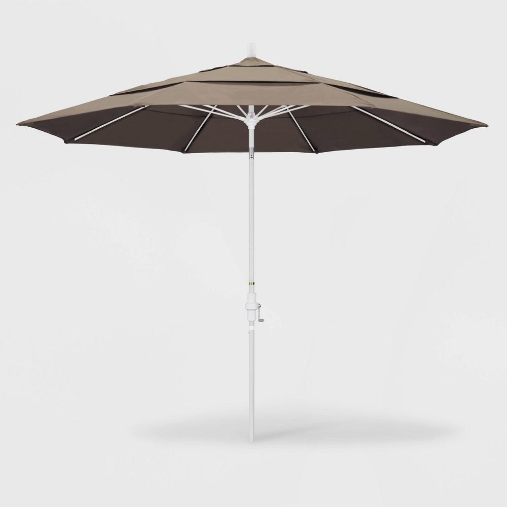 Image of 11' Sun Master Patio Umbrella Collar Tilt Crank Lift - Sunbrella Taupe - California Umbrella