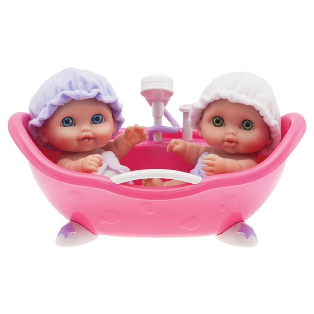 JC Toys Lil' Cutesies Twin Dolls In Bath 8.5 All Vinyl Water Friendly Dolls Designed by Berenguer Your little one will take their imagination on a ride with this doll playset from JC Toys, ideal for kids 2 months and up. Gender: Female.