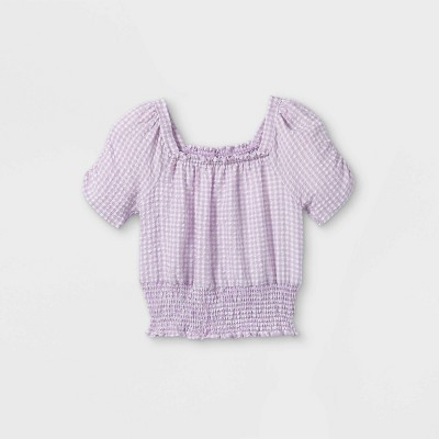 Girls' Smocked Square Neck Gingham Short Sleeve Top - art class™