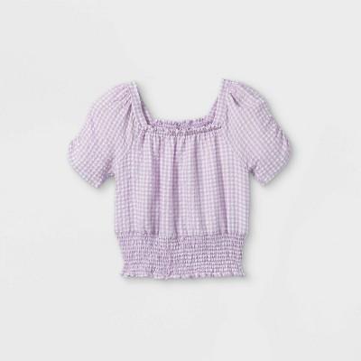 Girls' Smocked Square Neck Gingham Short Sleeve Top - art class™