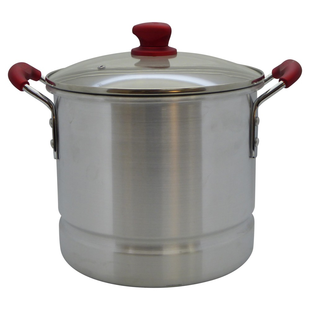 Image of Imusa 20qt Tamale Steamer with Ruby Red Handle