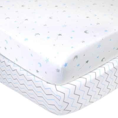 TL Care 100% Fitted Cotton Crib Sheet Star Zigzag Blue - 2 Pack