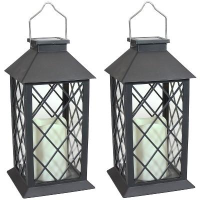 "2ct 11"" Concord Solar LED Candle Outdoor Lantern - Black - Sunnydaze Decor"