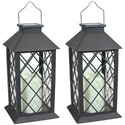 "2ct 11"" Concord Solar LED Candle Outdoor Lantern - Black - Sunnydaze Decor"
