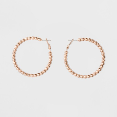 Open Hoop with Beaded Texture Earrings - Rose Gold - image 1 of 2