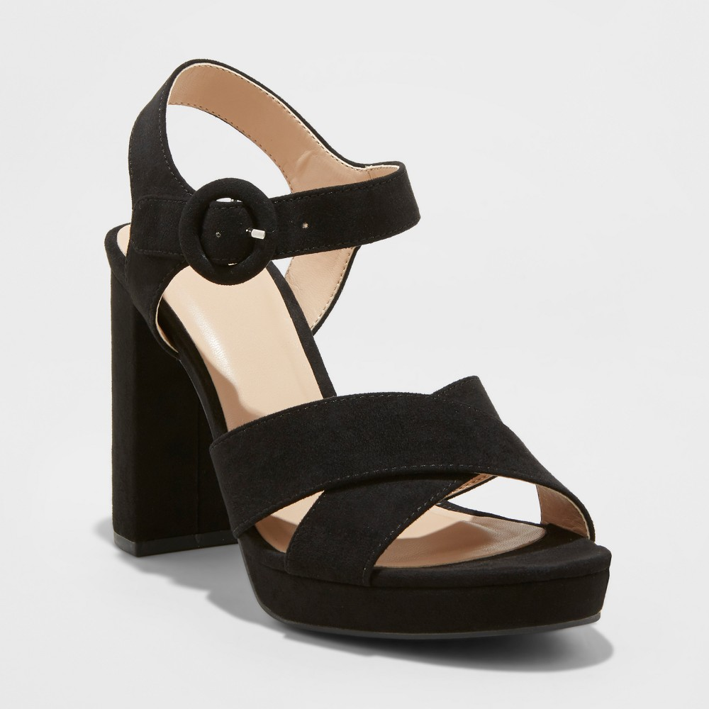 Image of Women's Fiona Crossband Platform Ankle Strap Sandals - A New Day Black 5.5