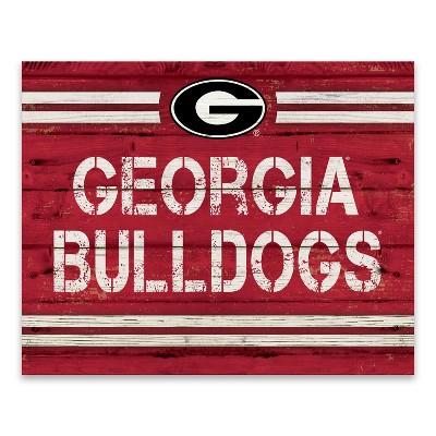 NCAA Georgia Bulldogs Rustic Banner Large Logo Printed Canvas