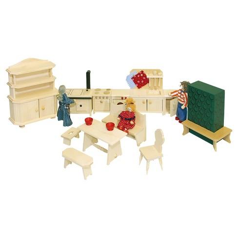 Rulke 17 Pc Wooden Doll House Furniture Set Target