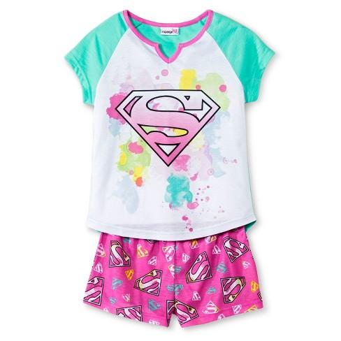 Girls' Supergirl 2-Piece Pajama Set - Multicolored XS - image 1 of 1