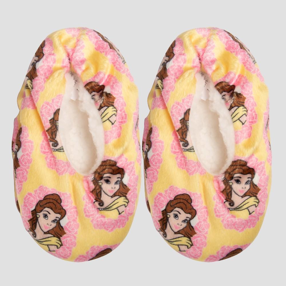 Toddler Girls' Disney Princess Belle Slipper Socks - Yellow 3T-4T