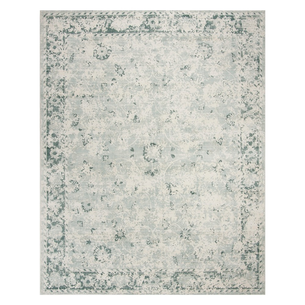 9'X12' Floral Area Rug Gray/Teal - Safavieh