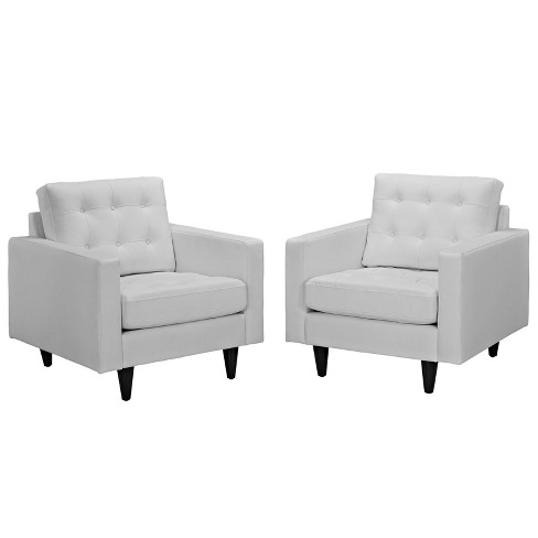 Empress Armchair Leather Set of 2 White - Modway - image 1 of 6