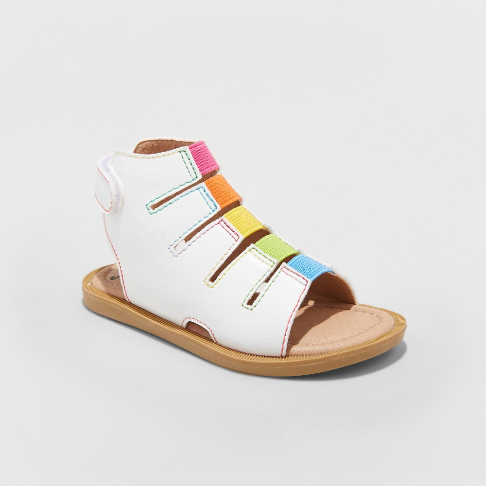 Toddler Girls' Just Buds Bette Gladiator Sandals - Rainbow White 8