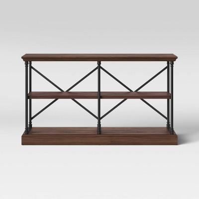 Conway 2 Shelf Wood Horizontal Bookcase with Cast Iron Frame Dark Brown - Threshold™