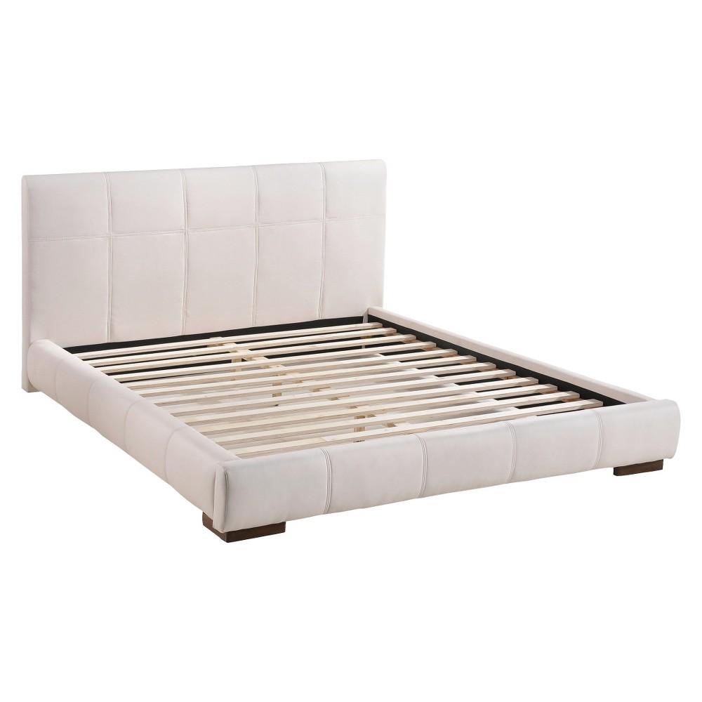 Luxury Slat System Upholstered King Bed - White - ZM Home