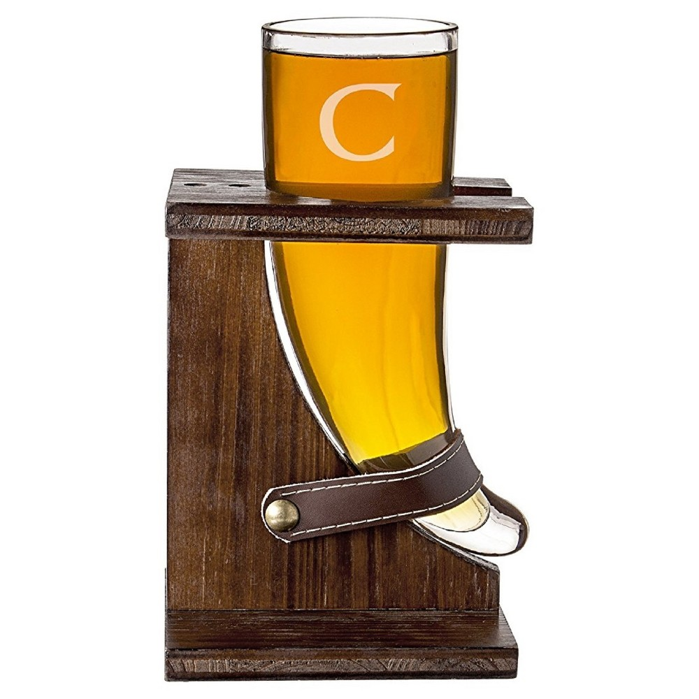 Cathy S Concepts 16 Oz Personalized Glass Viking Beer Horn With Rustic Stand C