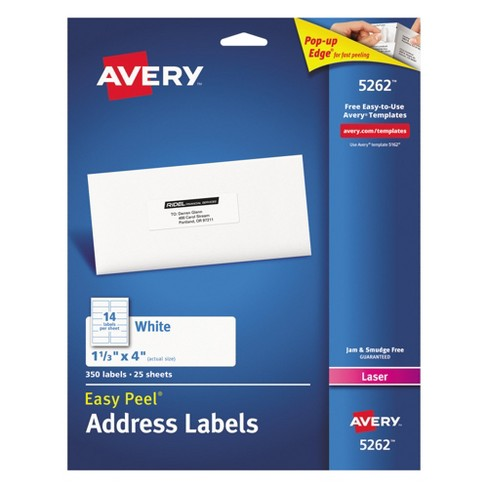 Avery® 1-1/3 x 4 Laser Easy Peel Address Labels - White (350 Per Pack) - image 1 of 4