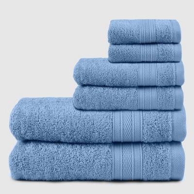 6pc Feather Touch Cotton Bath Towel Set Light Blue - Trident Group