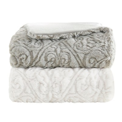 Gray Damask Throw Blankets ( 50x60 )