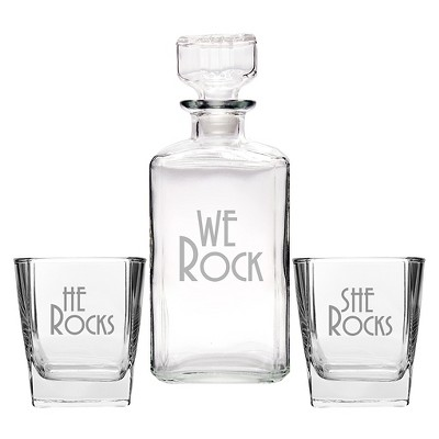 3ct We Rock Wedding Decanter & Glass Set
