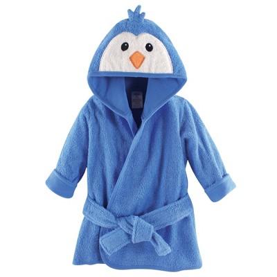 Luvable Friends Baby Boy Cotton Animal Face Bathrobe, Boy Penguin, One Size