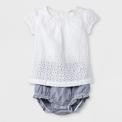 Baby Girls' Romper - Cat & Jack™ True White 0-3M