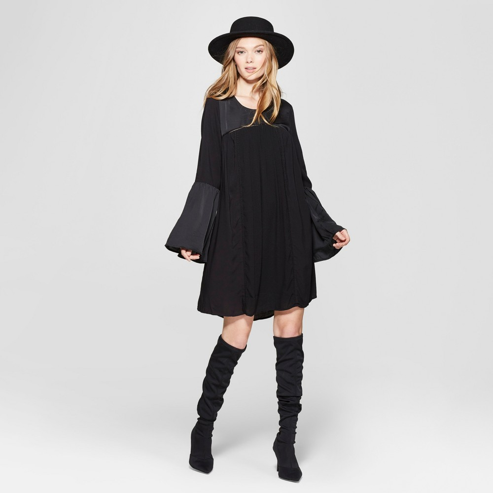 Women's Bell Long Sleeve Shift Dress - Knox Rose Black XS