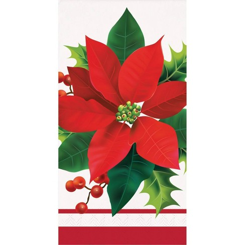48ct Holiday Poinsettia Guest Towels - image 1 of 3