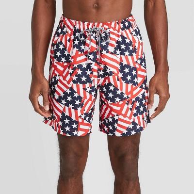 "Speedo Men's 8"" Flags Volley Swim Shorts - Red/White/Blue"