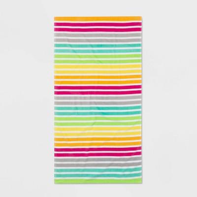 Striped Printed Beach Towel Pink/Aqua - Sun Squad™