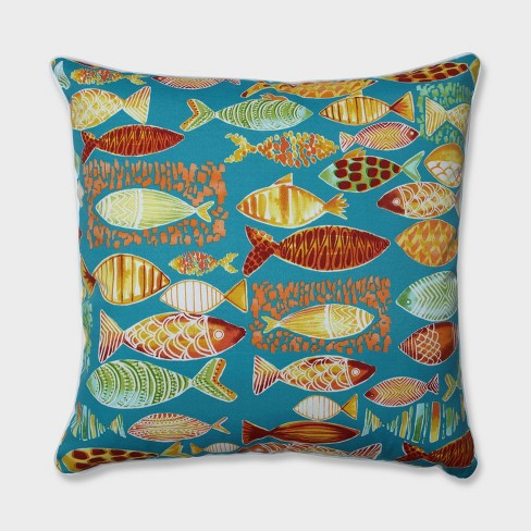 """25"""" Hooked Beach Floor Pillow Blue - Pillow Perfect - image 1 of 1"""