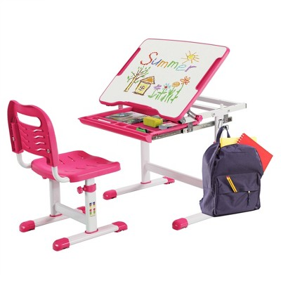 Costway Kids Desk and Chair Set Height Adjustable w/Tilted Tabletop & Drawer Pink/Blue