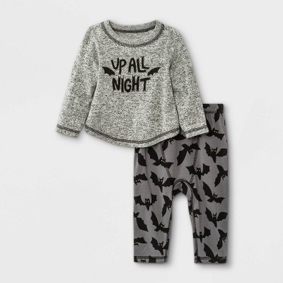Baby Boys' 2pc Up All Night French Terry Long Sleeve Top & Bottom Set - Cat & Jack™ Black Heather 0-3M
