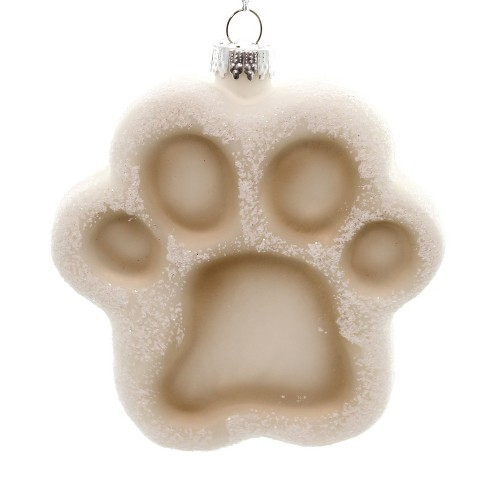Holiday Ornaments Paw Print Natural Ornament Glass Christmas Holiday  -  Tree Ornaments - image 1 of 2