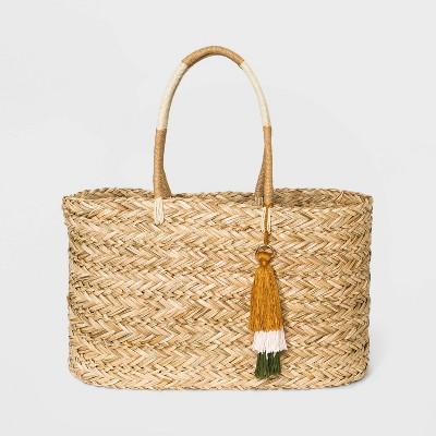 Straw Large Tote Handbag - A New Day™ Natural