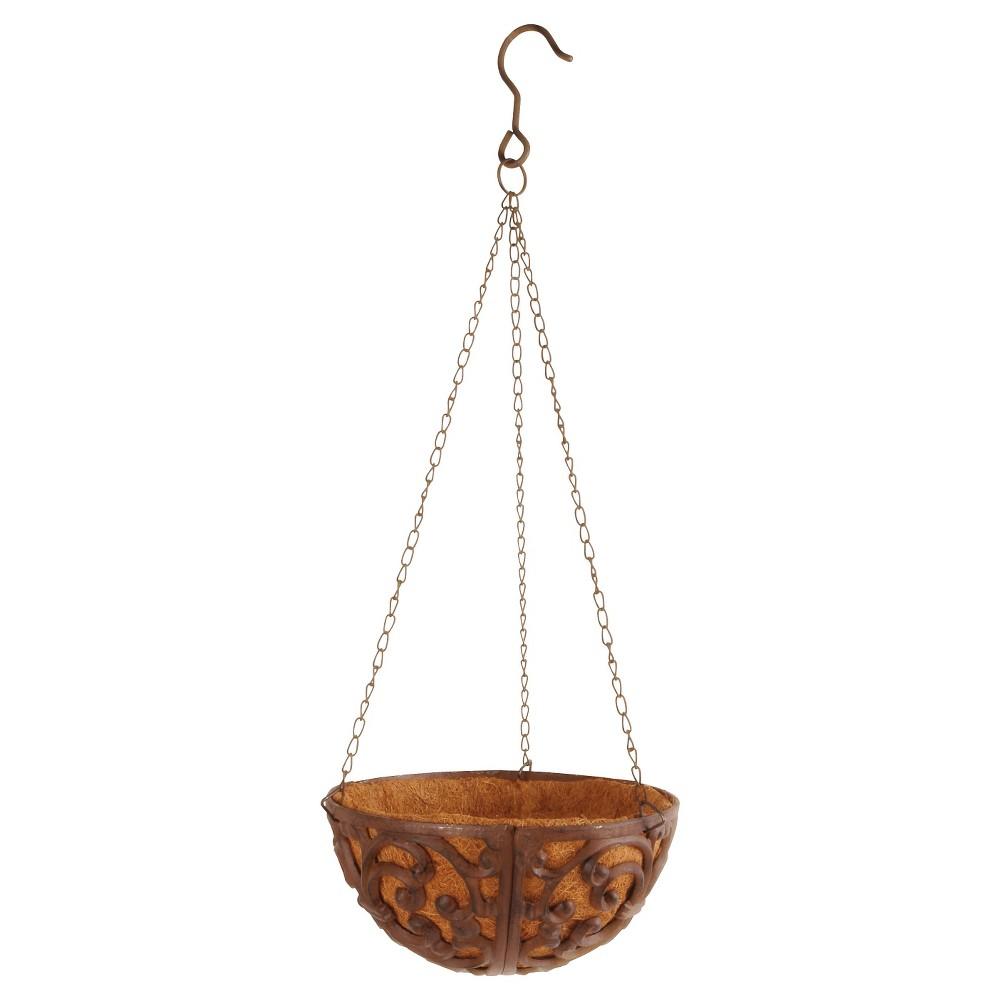 """Image of """"10"""""""" X10"""""""" X6.1"""""""" Cast Iron Hanging Basket With Coconut Liner - Brown - Esschert Design"""""""